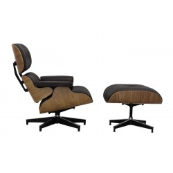Roble natural, Piel marrón chocolate. Lounge Chair inspiración Eames
